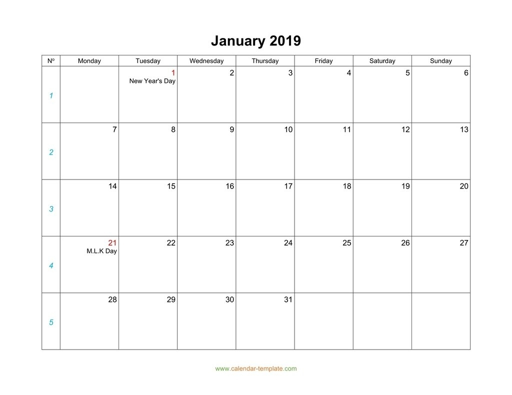 Blank Calendar 2019-Monthly Calendars Start Monday – Monthly