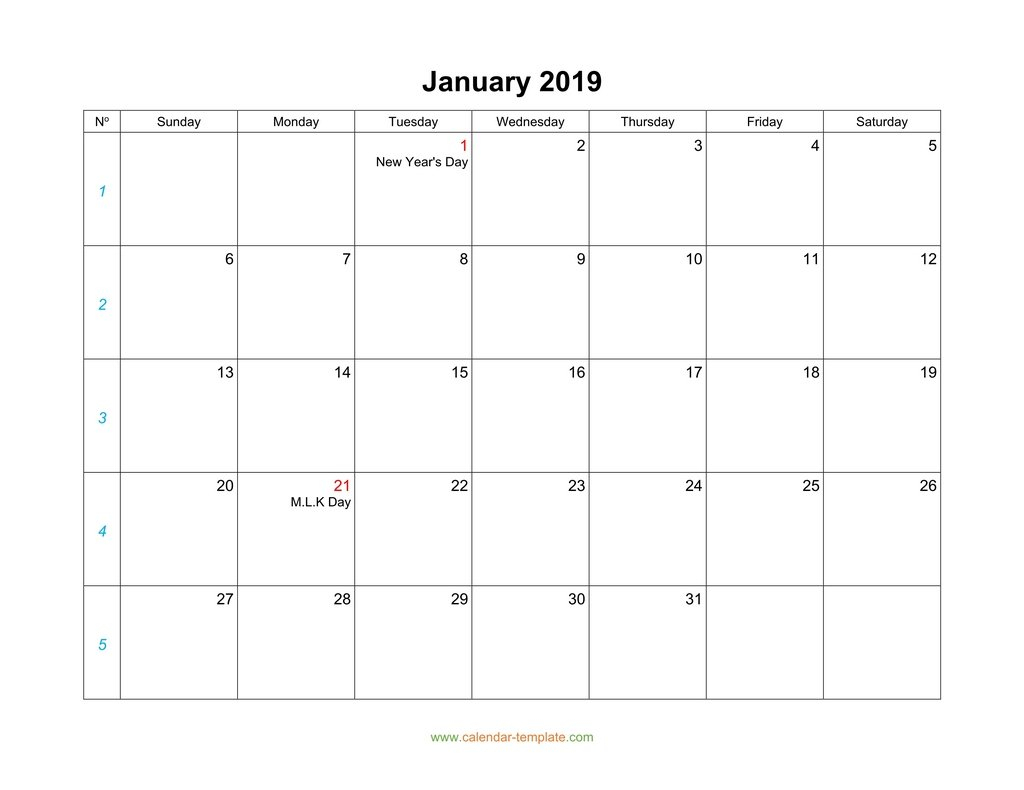 Blank Calendar 2019