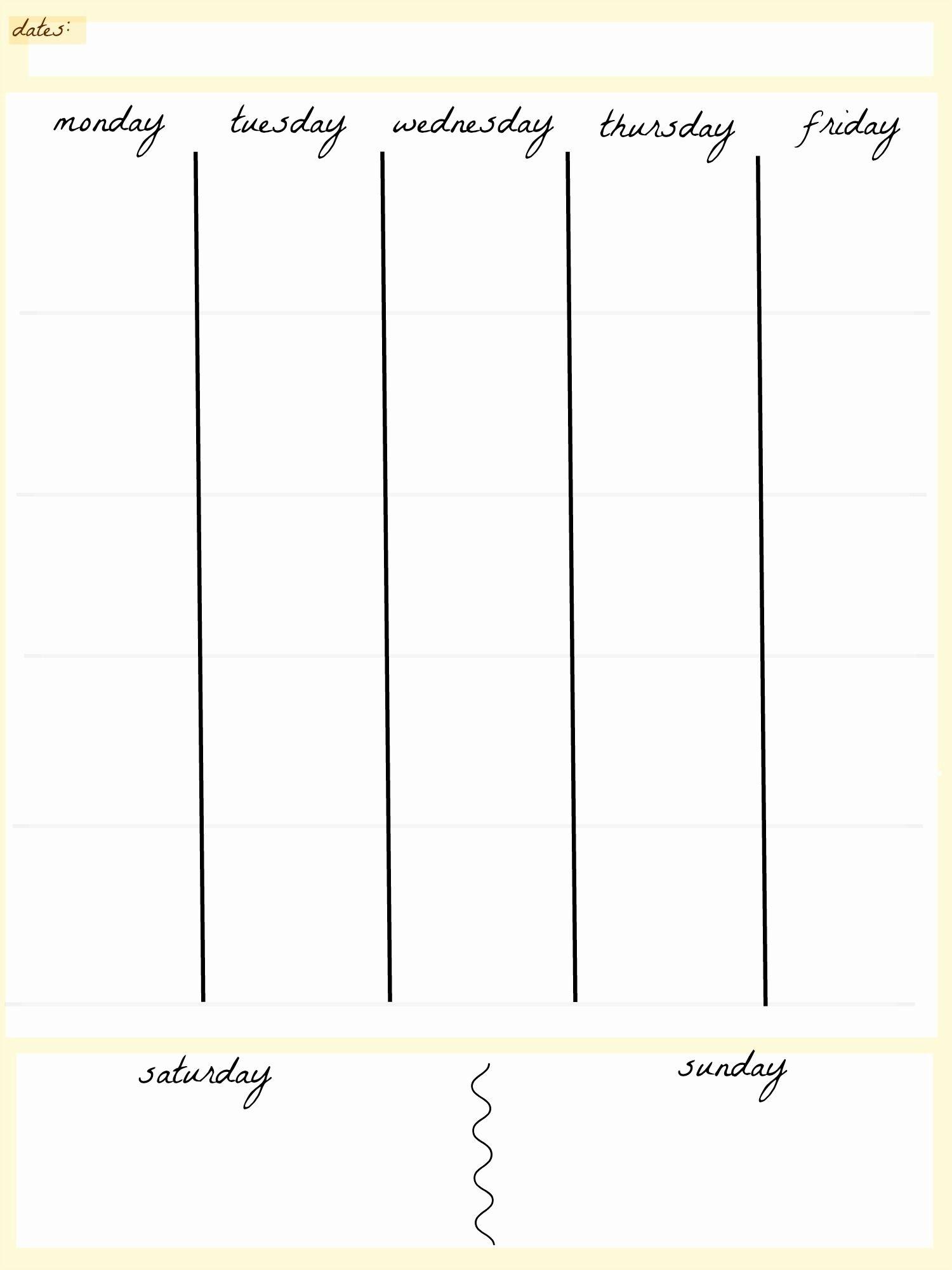 Blank Calendar 5 Day Week | Blank Calendar Template Dowload