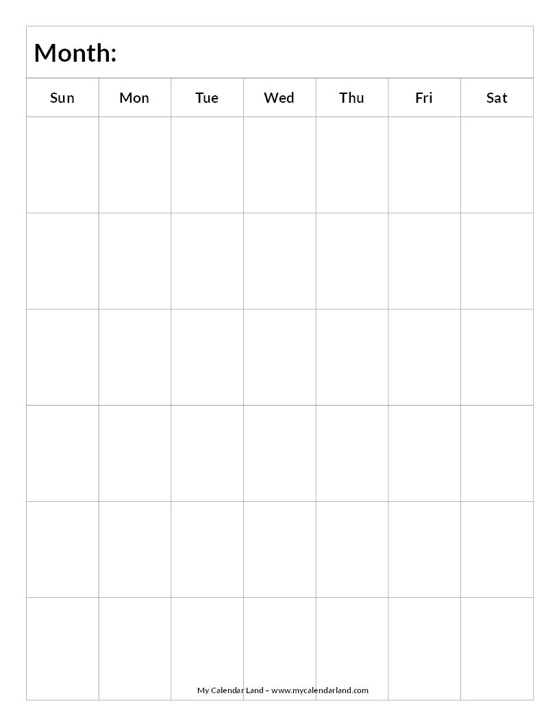 Blank-Calendar-6-Weeks-Portrait-C … | Printable Blank