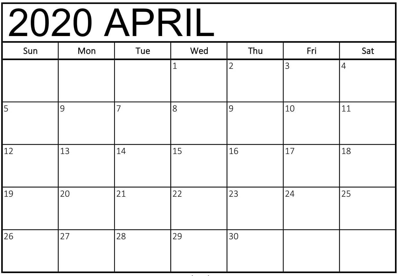 Blank Calendar April 2020 Printable - 2019 Calendars For