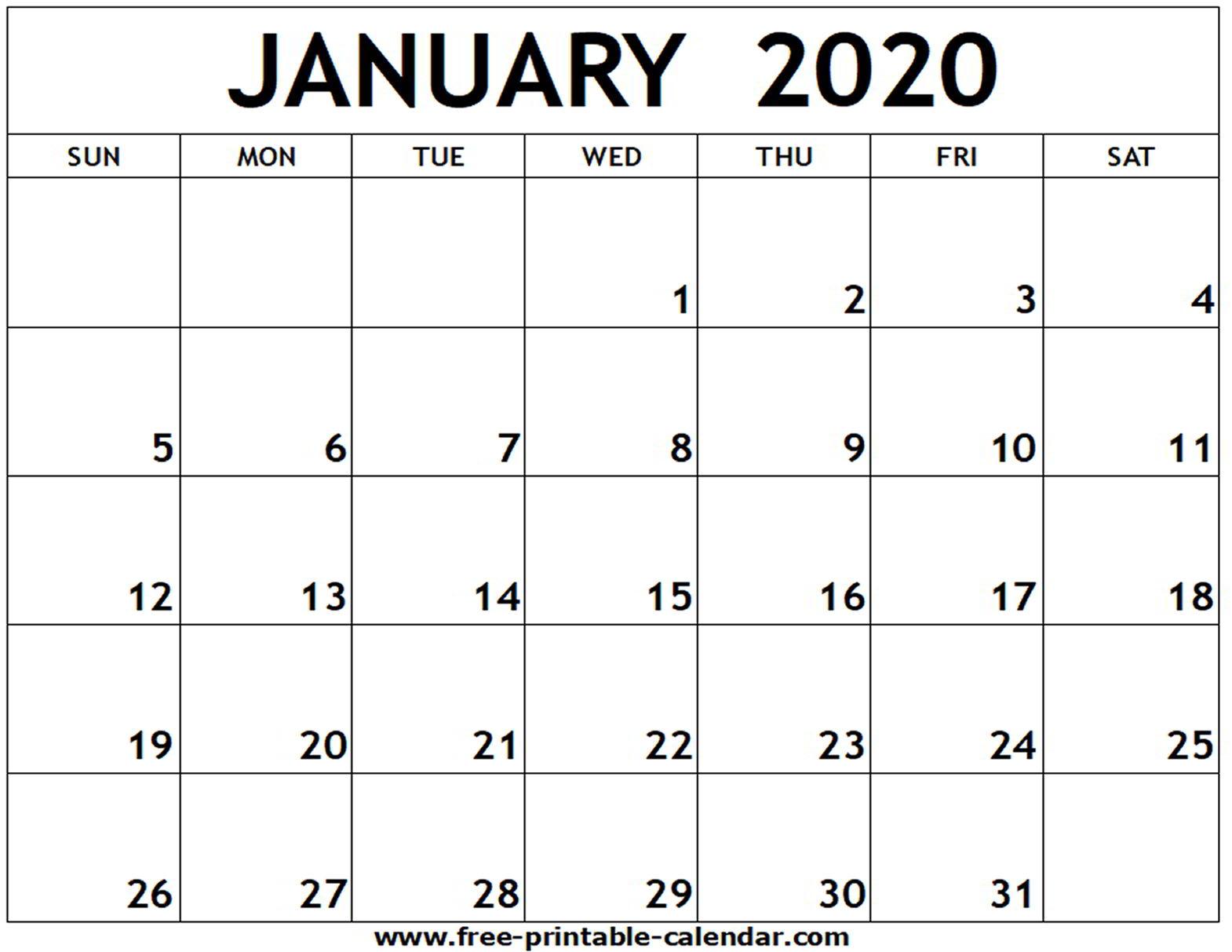 Blank Calendar For 2020 - Tunu.redmini.co
