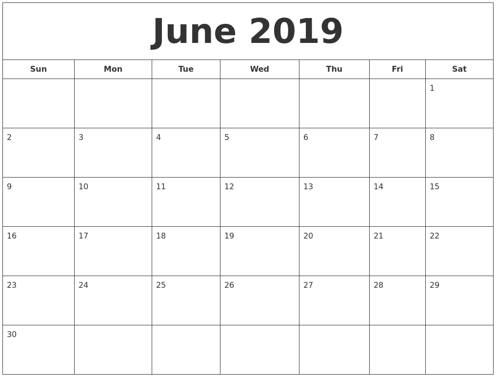 Blank Calendar June July August 2019