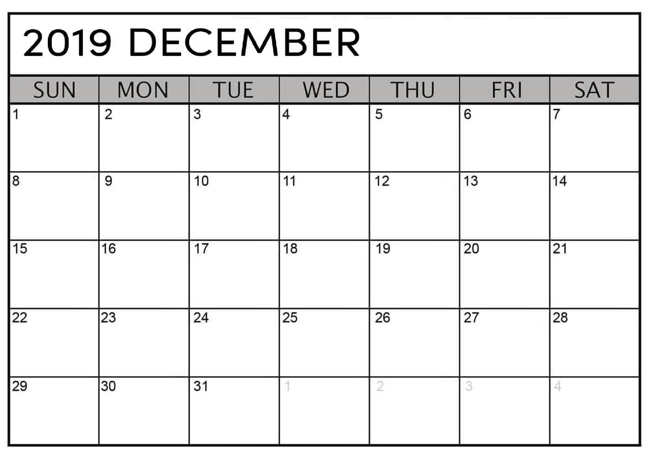 Blank December 2019 Calendar Page - Free Printable Calendar