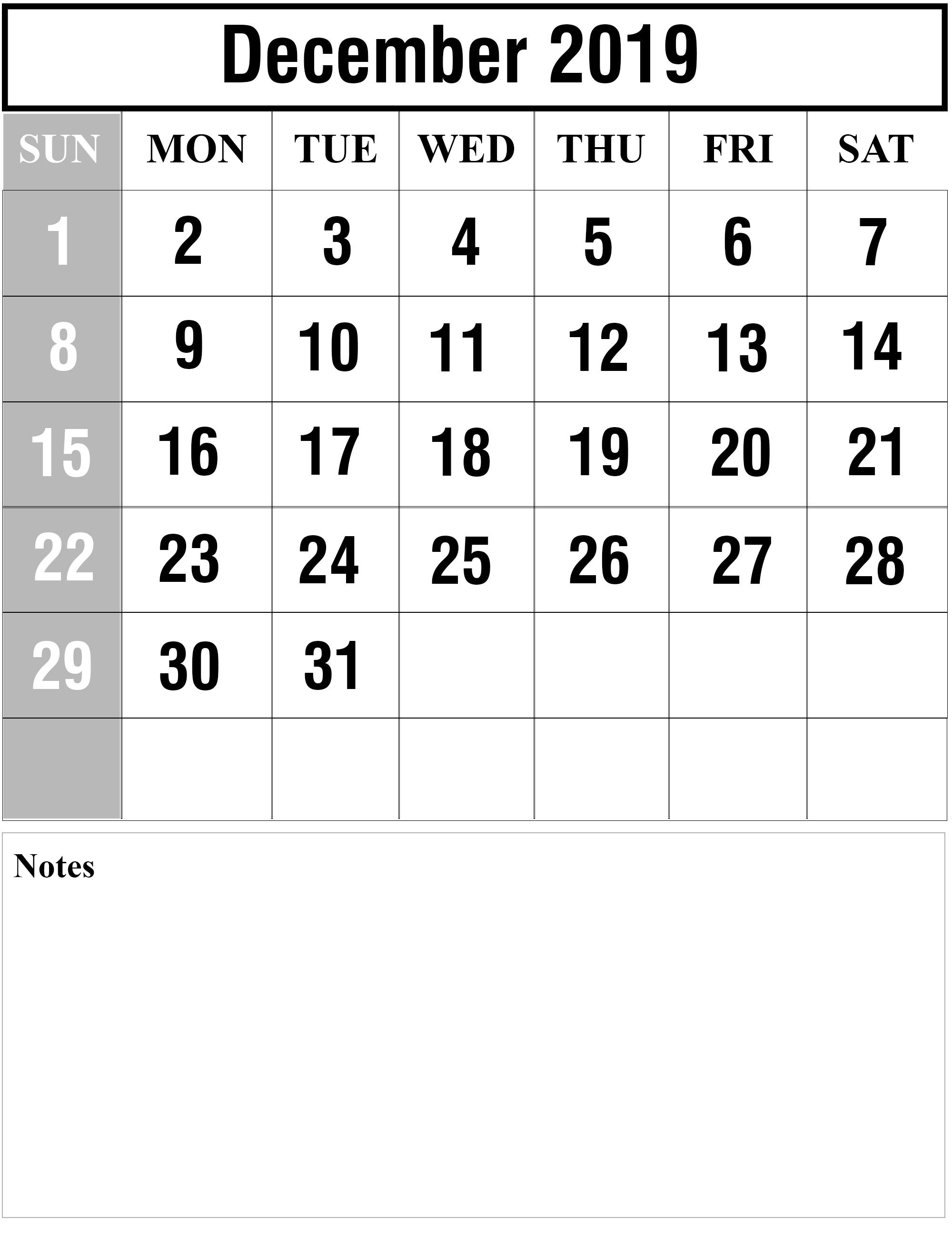 Blank December 2019 Portrait Calendar #dec #december