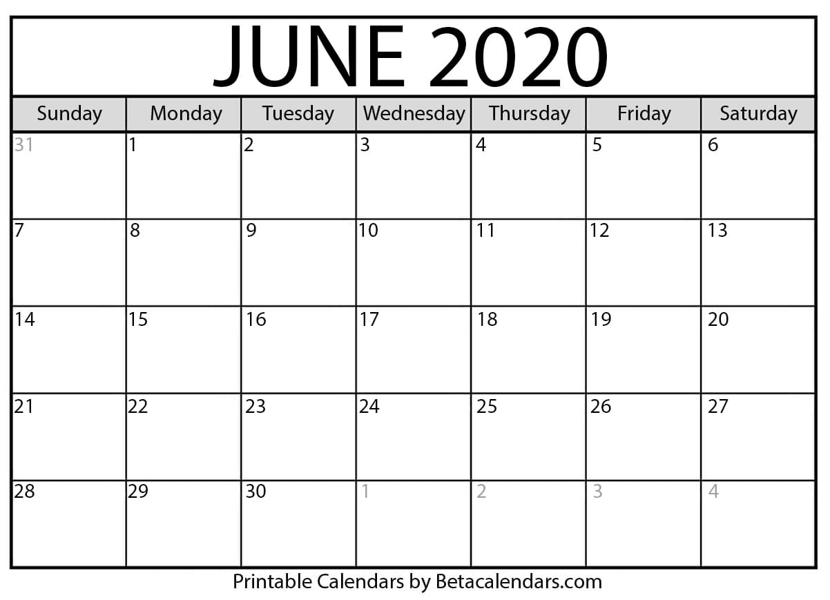 Blank June 2020 Calendar Printable – Beta Calendars-Blank