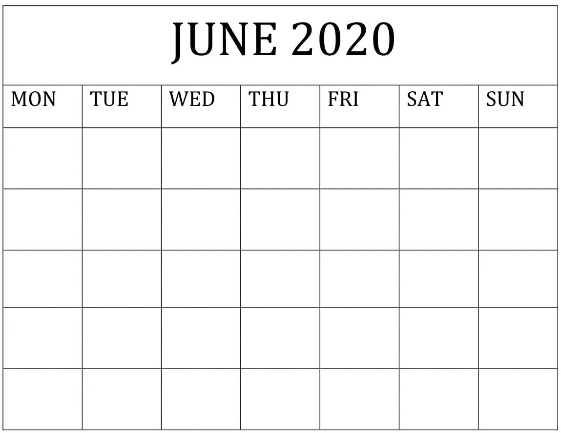 Blank June 2020 Calendar Word,pdf Template – Free Latest