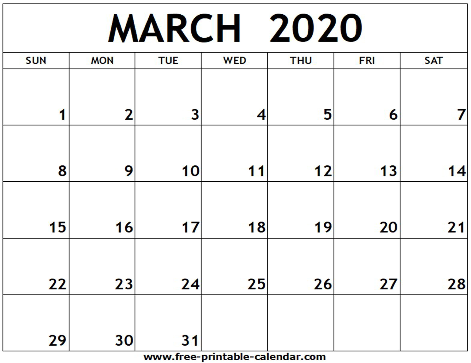 Blank March Calendar 2020 - Colona.rsd7