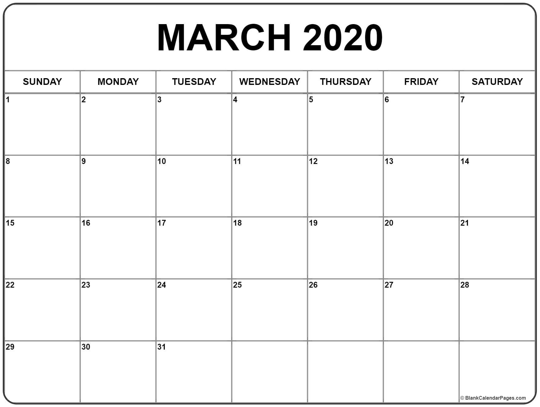 Blank March Calendar 2020 - Colona.rsd7