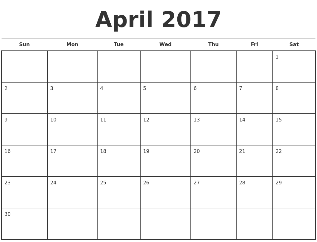 Blank Monthly Calendar 2017 – Calendar Yearly Printable