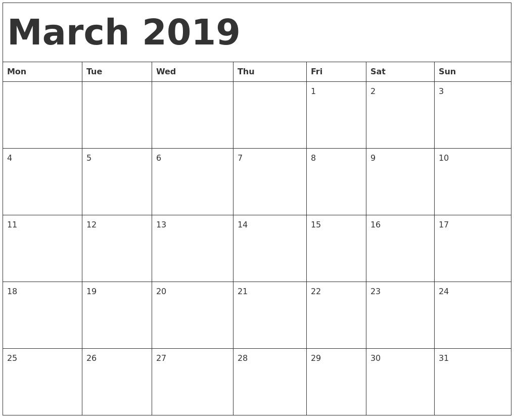 Blank Monthly Calendar March 2019 - Free Printable Calendar