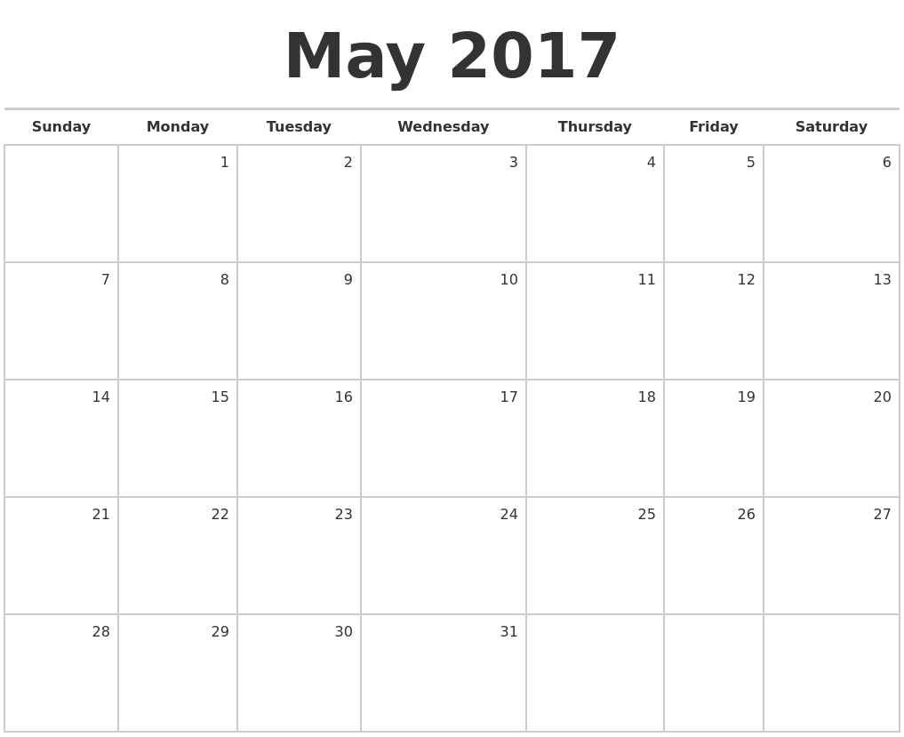 Blank Monthly Calendar Monday Sunday | Make Your Own Workout