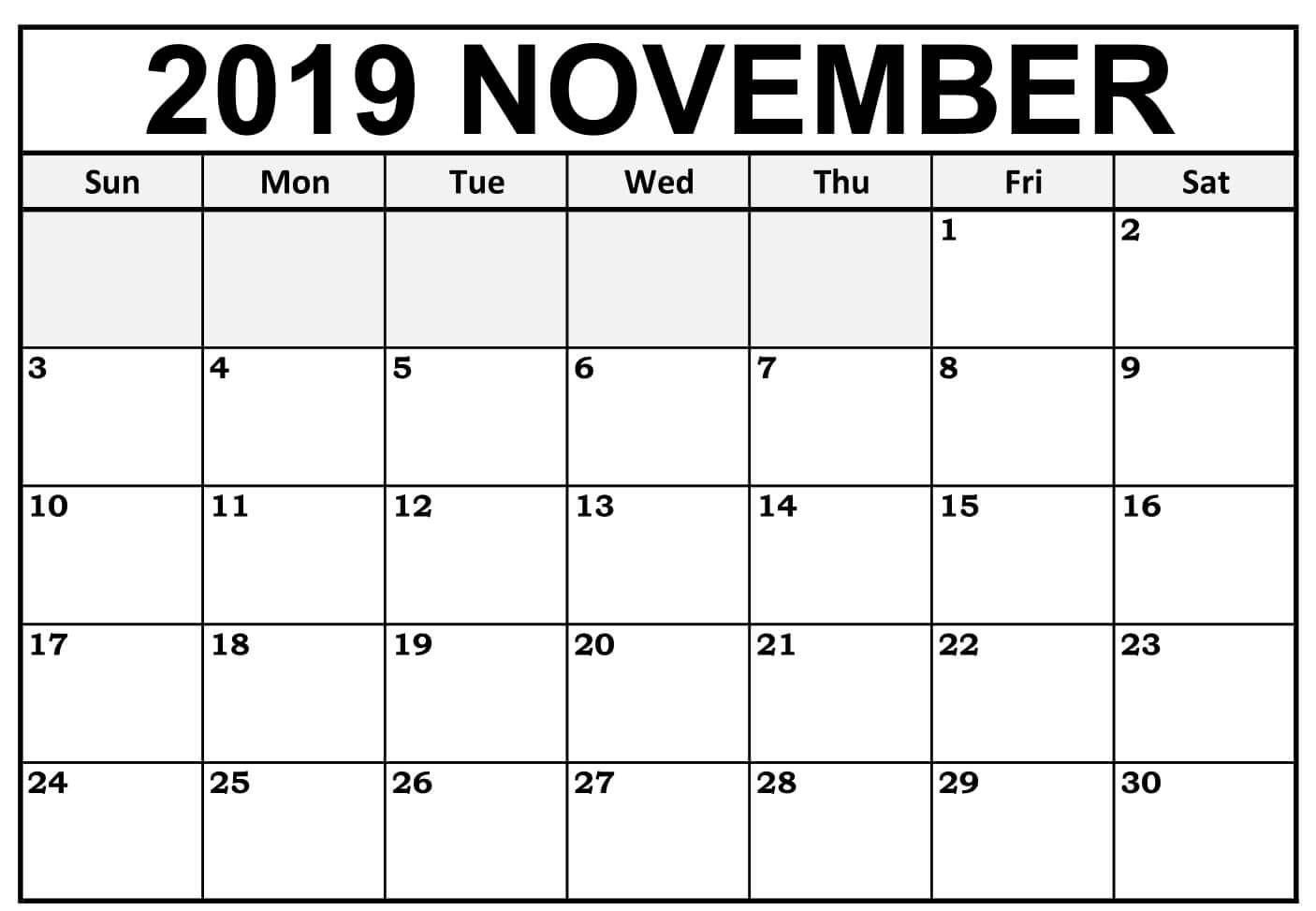 Blank November 2019 Calendar Editable - Free August 2019