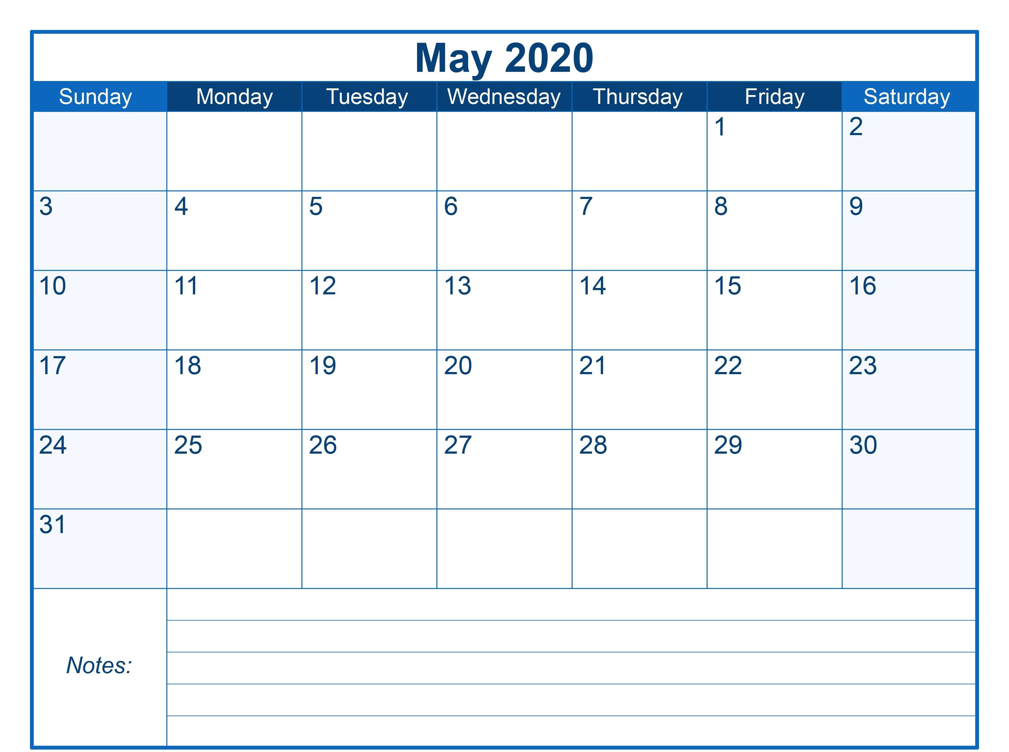 Blank Printable May 2020 Calendar | Printable Monthly
