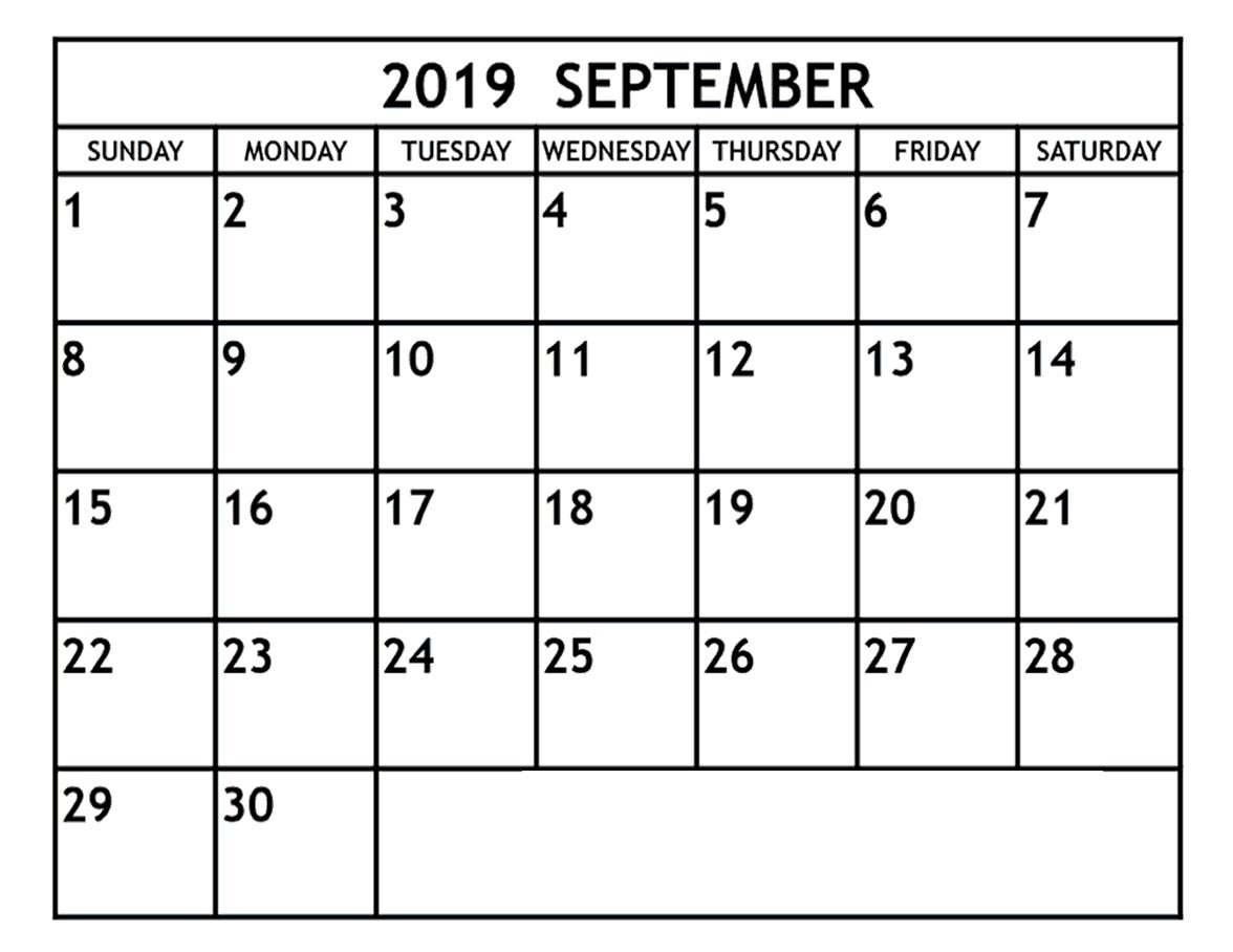 Blank September 2019 Calendar Template In Printable Editable