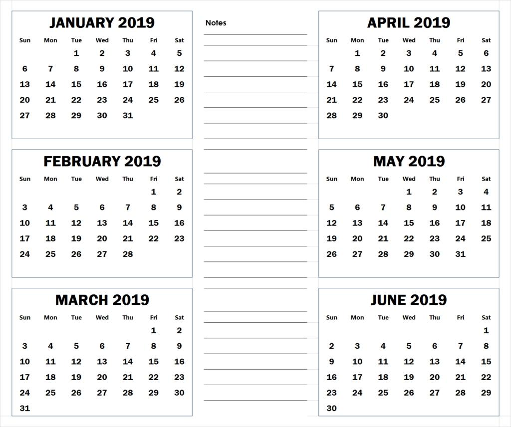 Blank Six Month 2019 Printable Calendar | 2019 Calendar