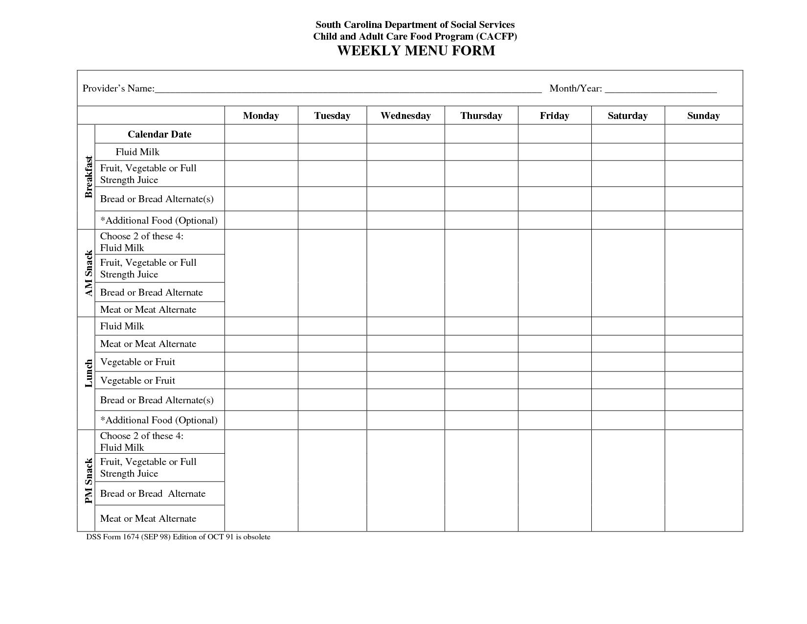 Blank Weekly Menu Calendar In 2020 | Daycare Menu, Menu