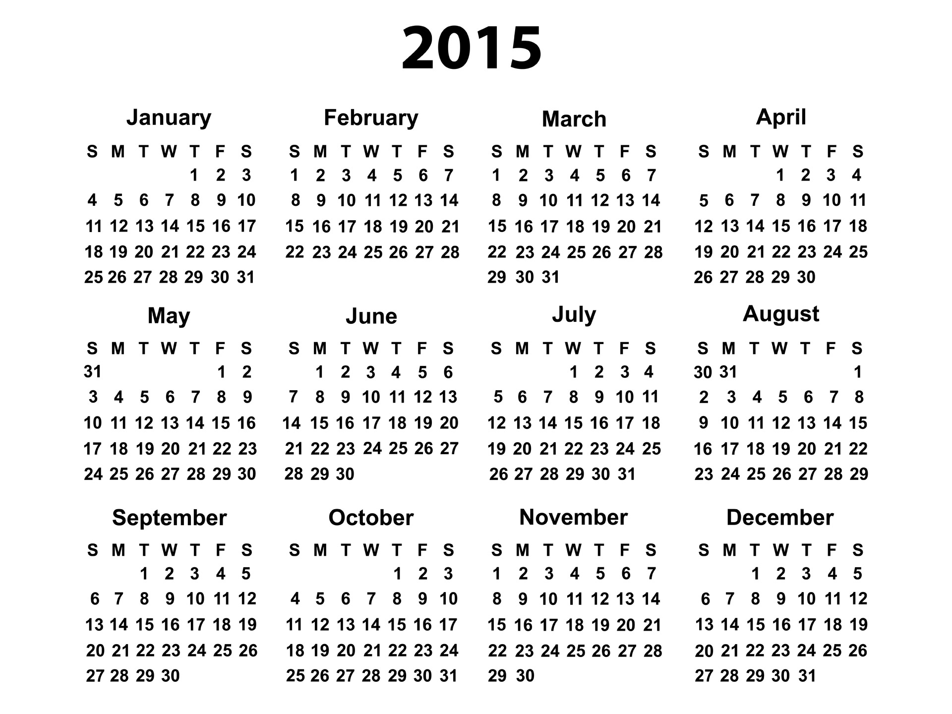 Blank Yearly Calendar 2015 | Templates Free Printable