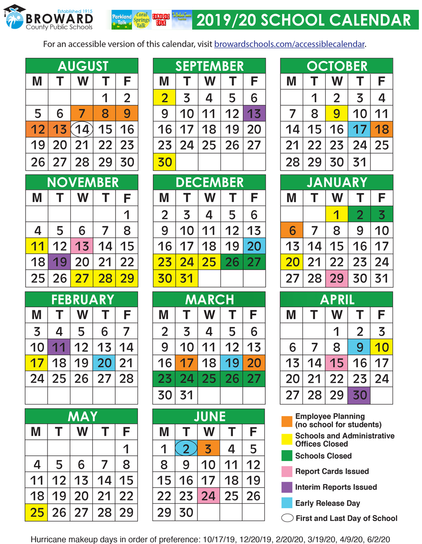 Broward County Public Schools Official 2019/2020 Calendar