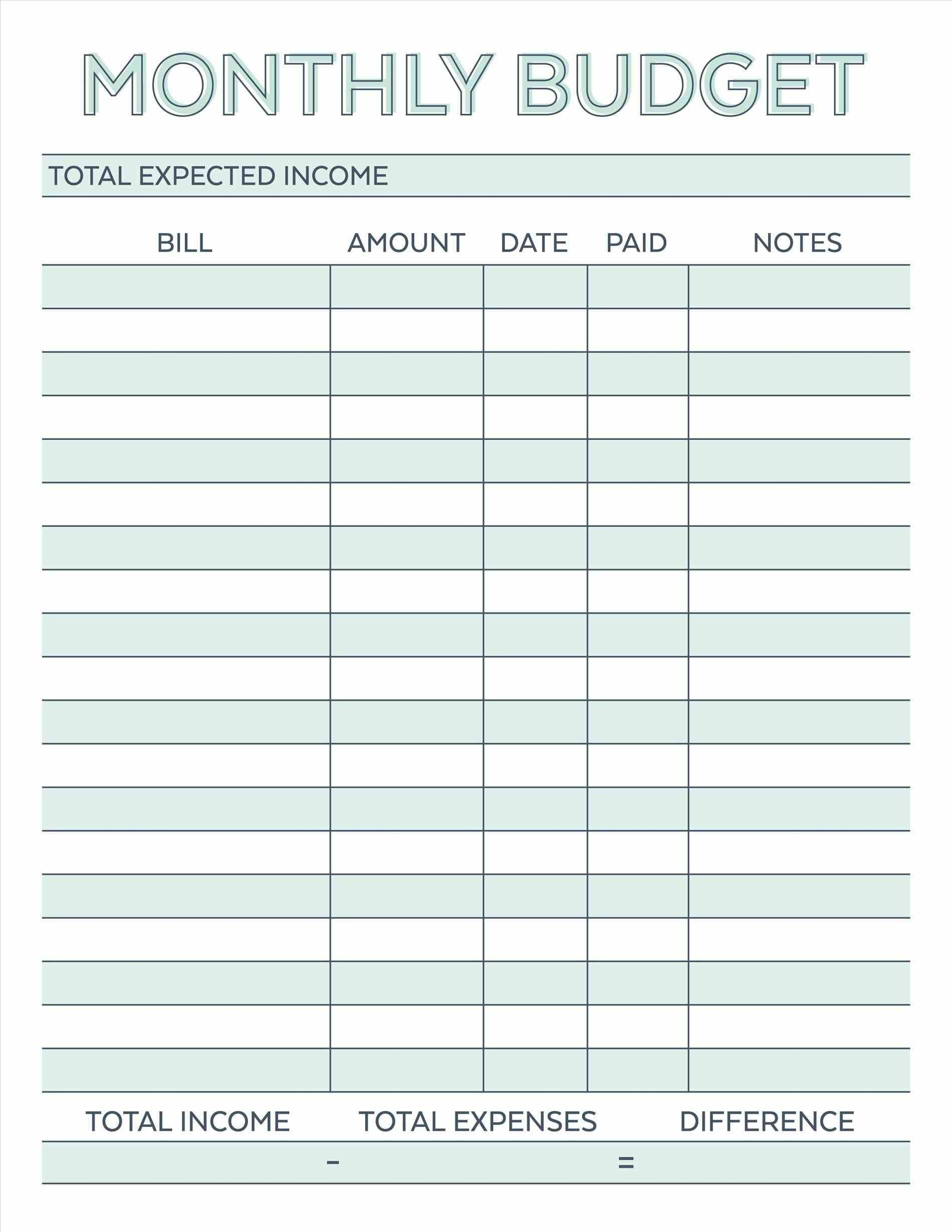 Budget Planner Planner Worksheet Monthly Bills Template Free