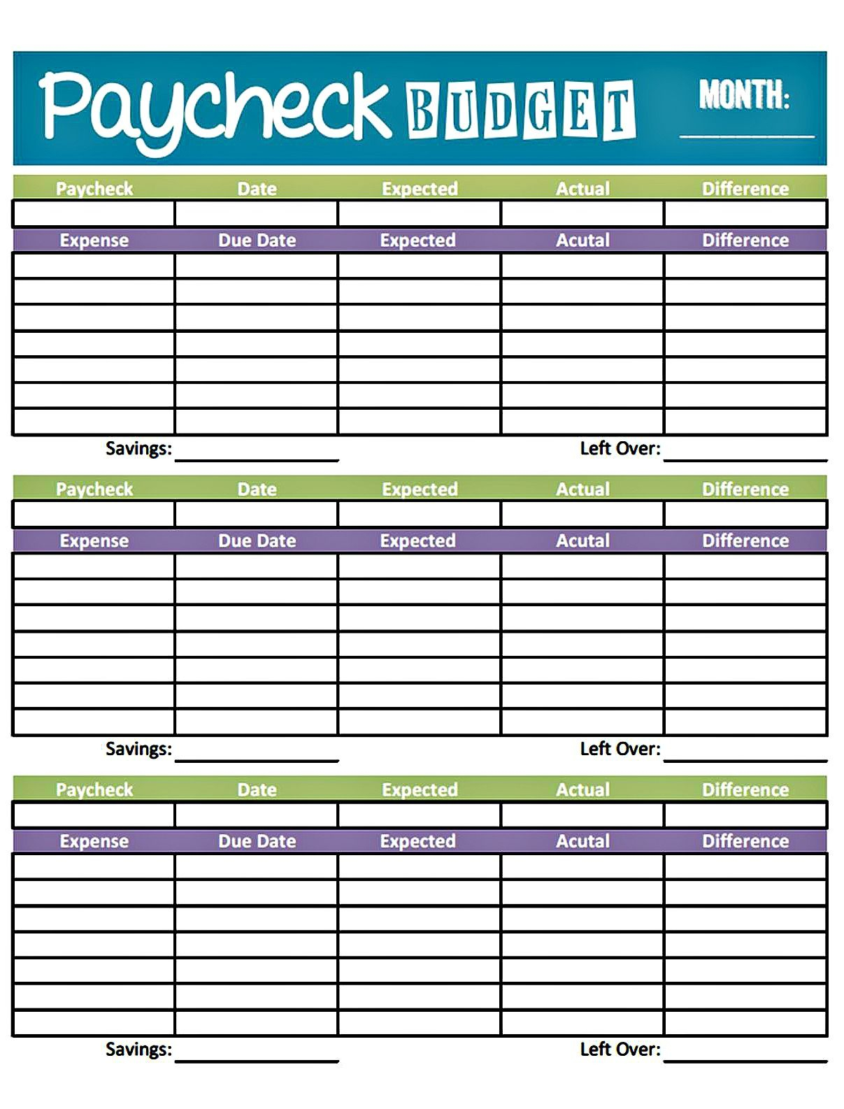 Budget Worksheet Printable | Get Paid Weekly And Charlie