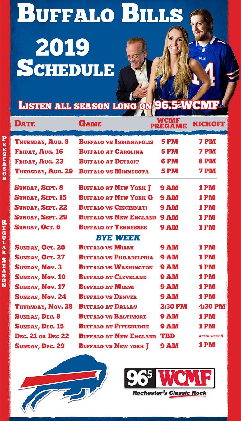 Buffalo Bills 2019 Season Schedule | 96.5 Wcmf