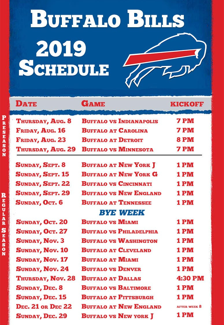 Buffalo Bills 2019 Season Schedule | Espn Rochester 95.7 Fm