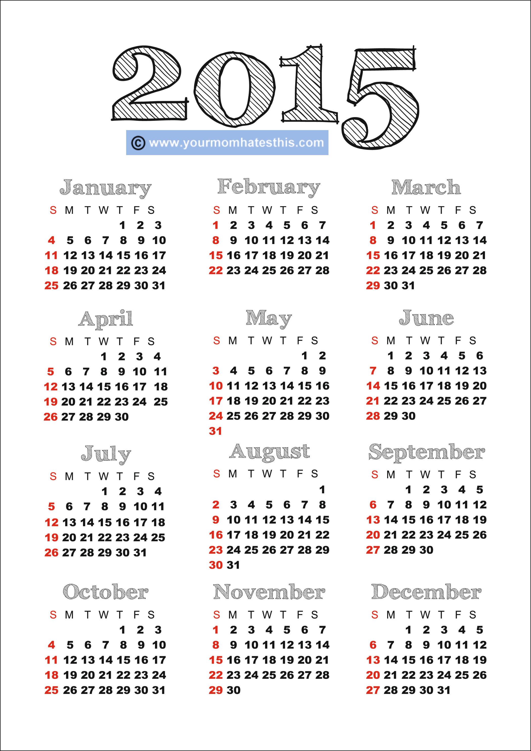 Calendar 2015 Free To Print - Tunu.redmini.co