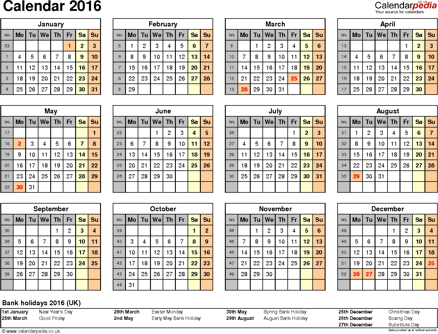 Calendar 2016 (Uk) – 16 Free Printable Pdf Templates-Print A