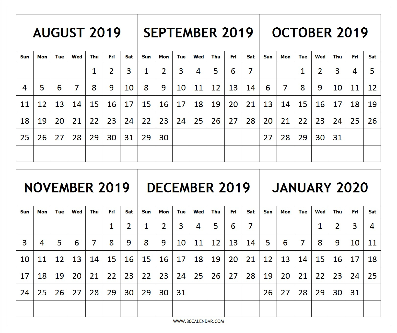Calendar 2019 August To 2020 January Printable | 6 Month