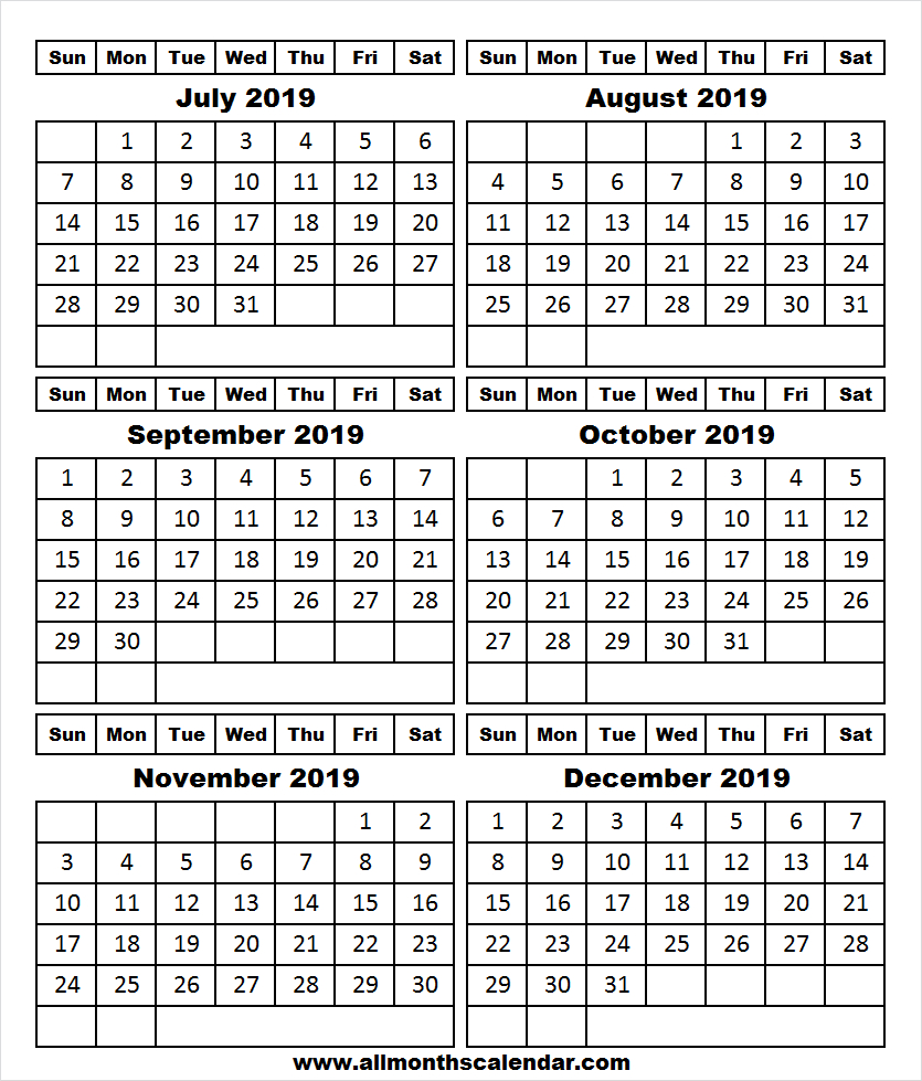 Calendar 2019 July To December Template | 2019 Editable