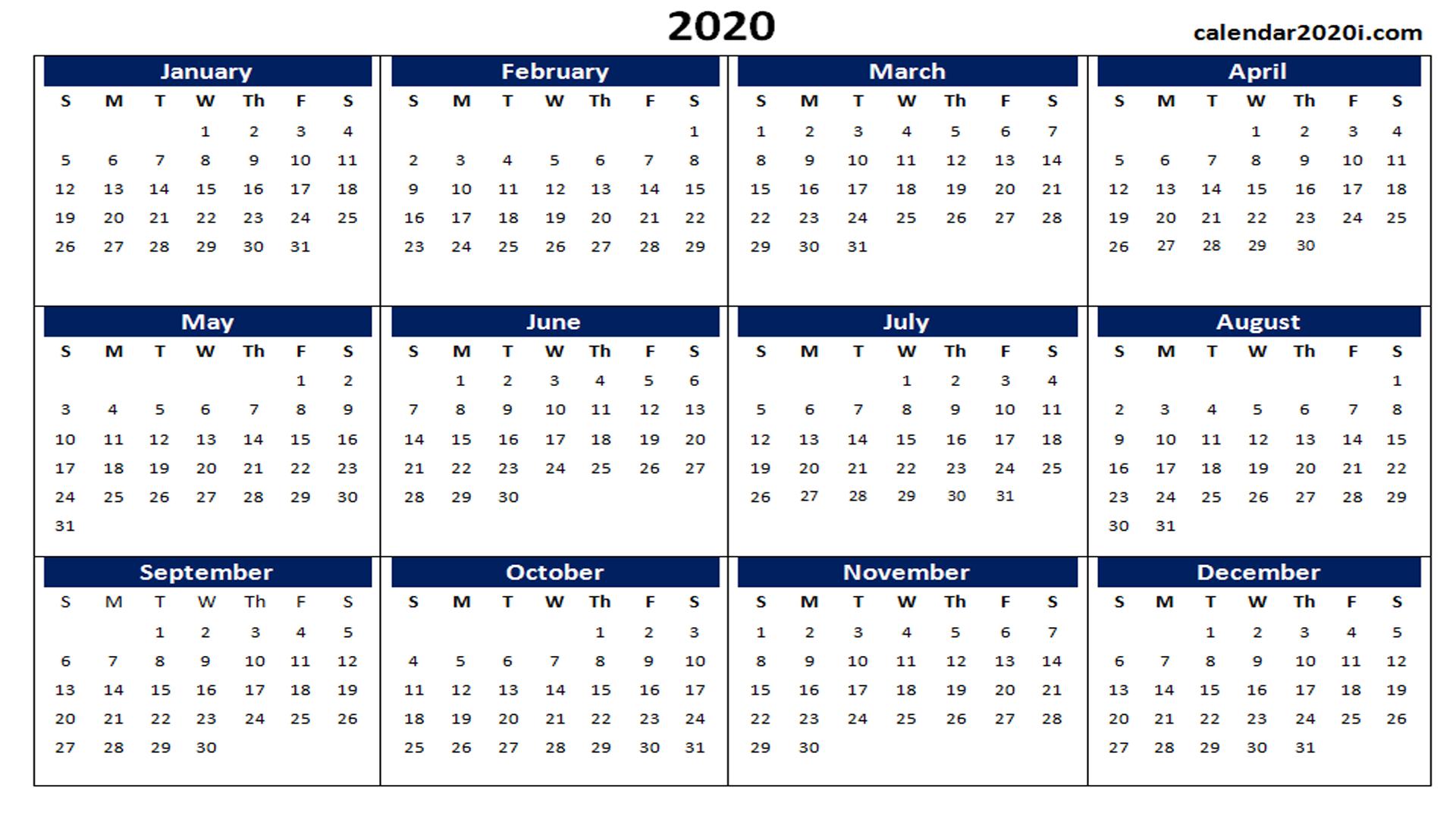 Calendar 2020 For Word - Tunu.redmini.co
