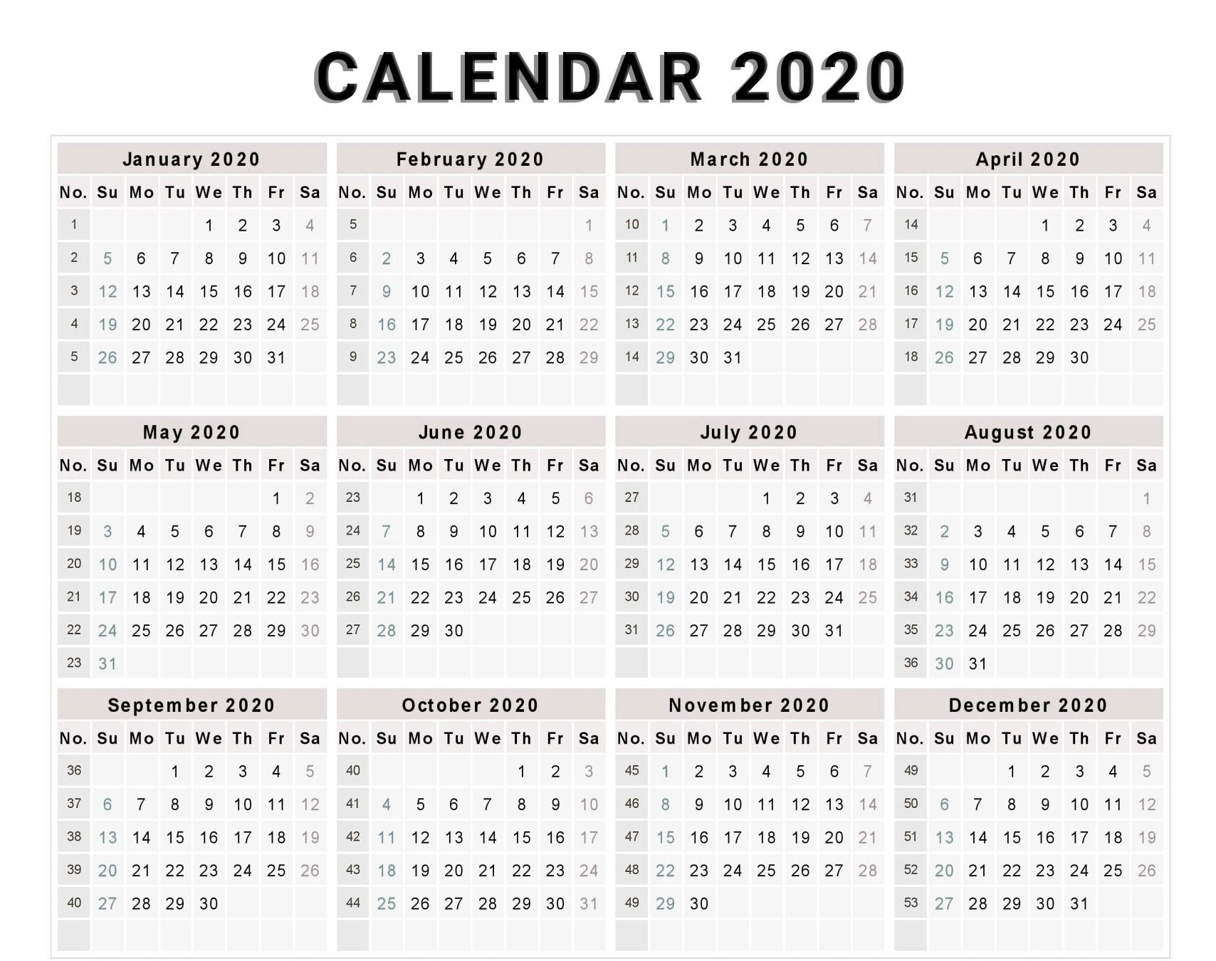 Calendar 2020 Free Template With Weeks | Free Calendar