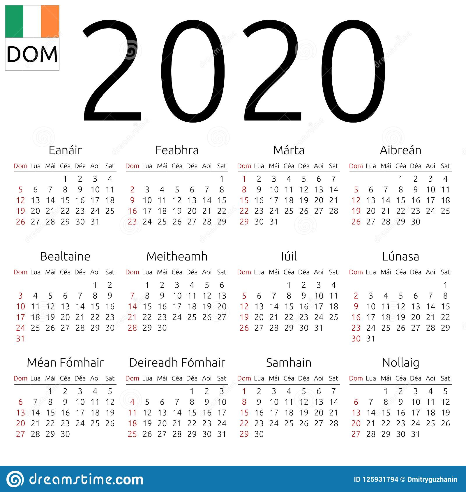 Calendar 2020, Irish, Sunday Stock Vector - Illustration Of