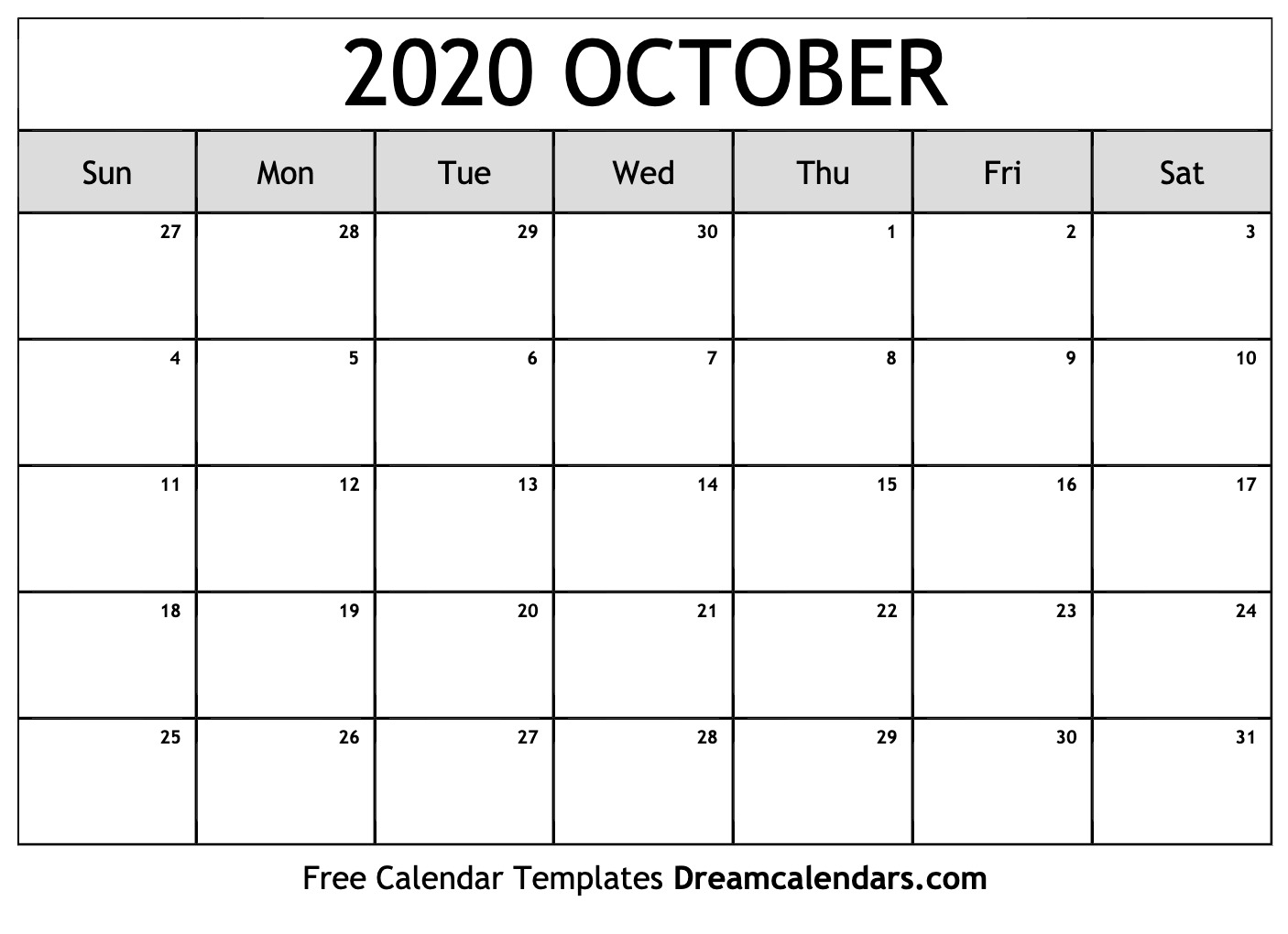 Calendar 2020 October - Tunu.redmini.co