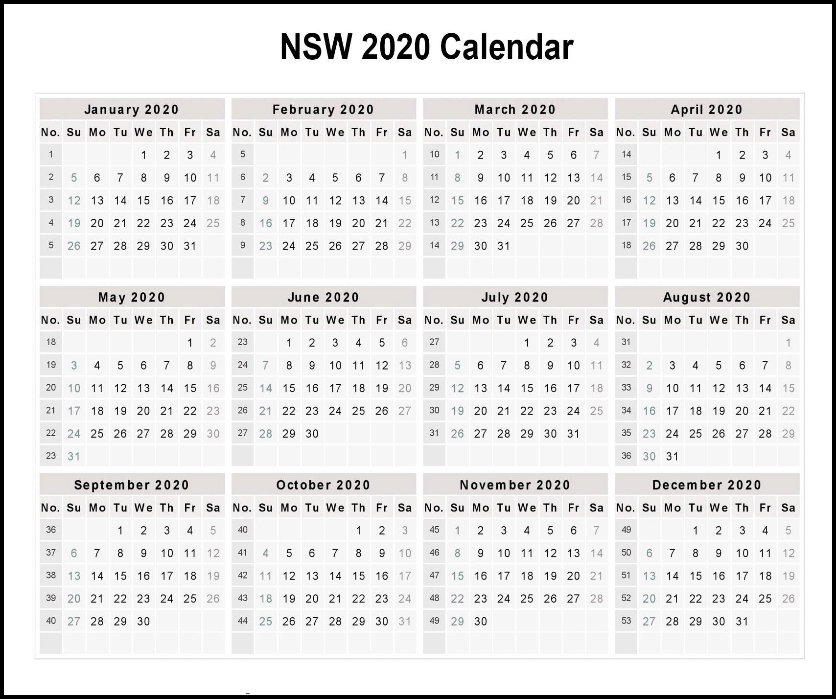 Calendar 2020 Templates With Nsw Holidays | Printable