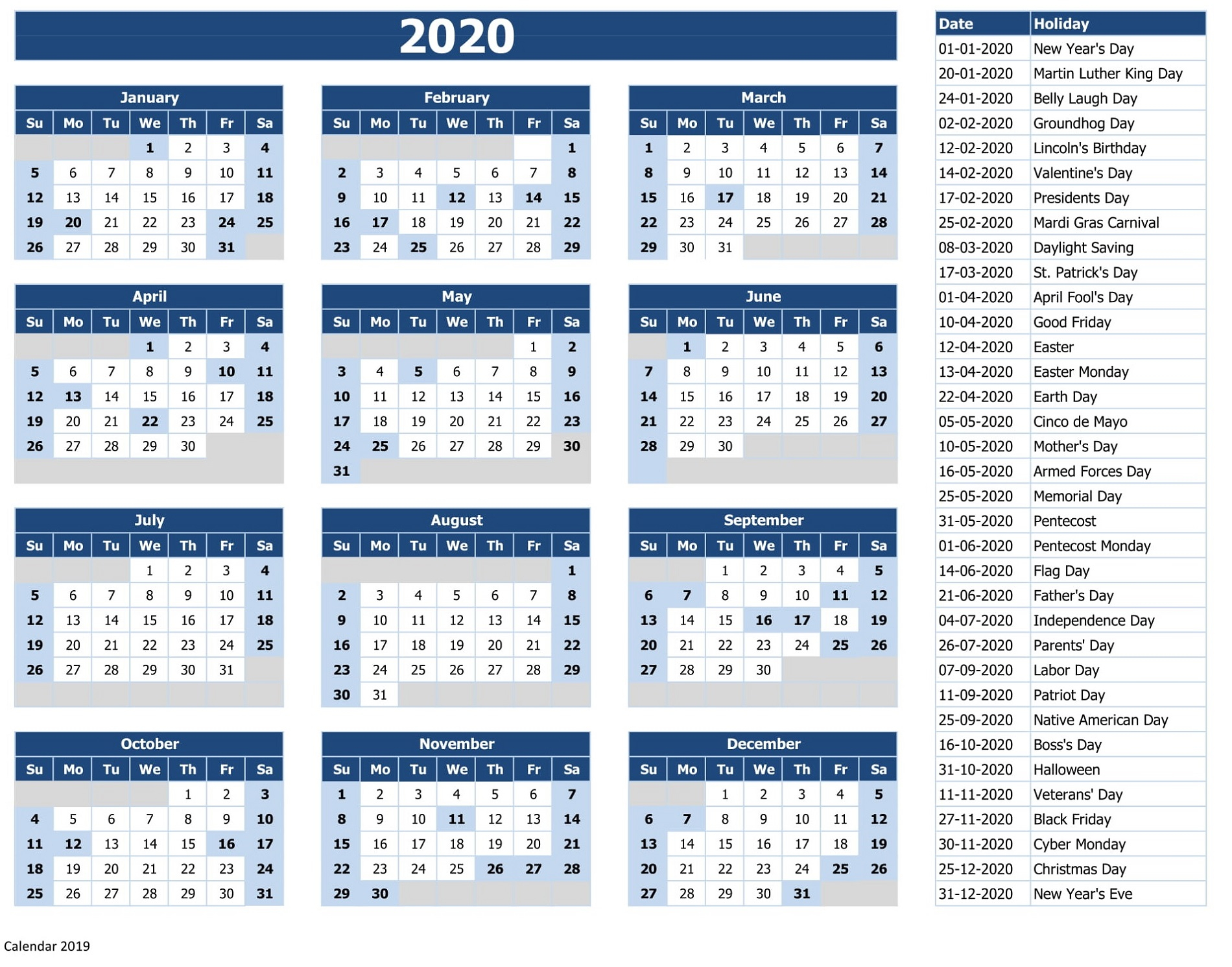 Calendar 2020 With Holidays Excel - Colona.rsd7