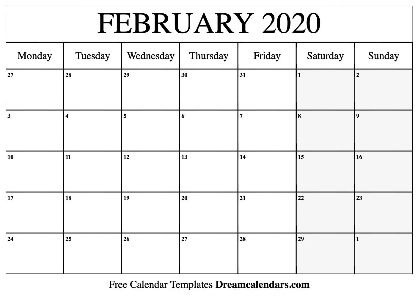 Calendar February 2020 - Tunu.redmini.co