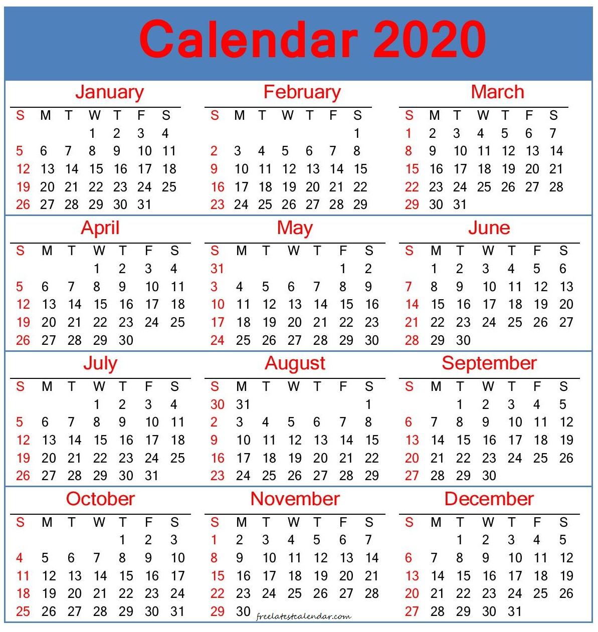 Calendar For 2020 Printable Planner – Free Latest Calendar