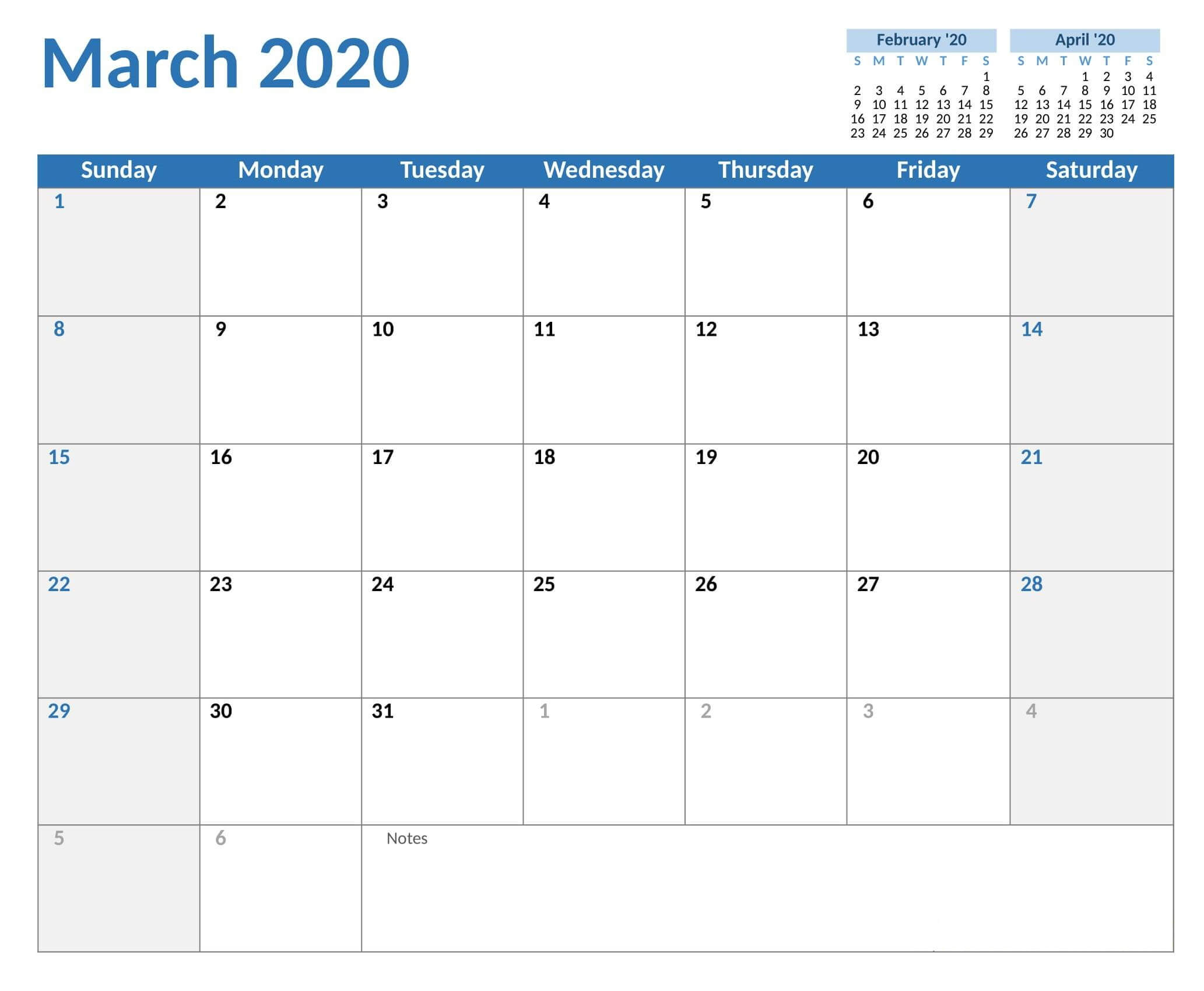 Calendar For March 2020 Printable Template - 2019 Calendars
