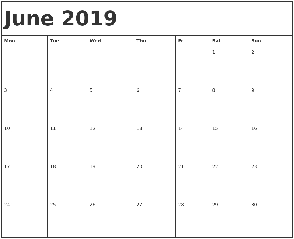 Calendar Free Printablr Start Monday | Monthly Printable