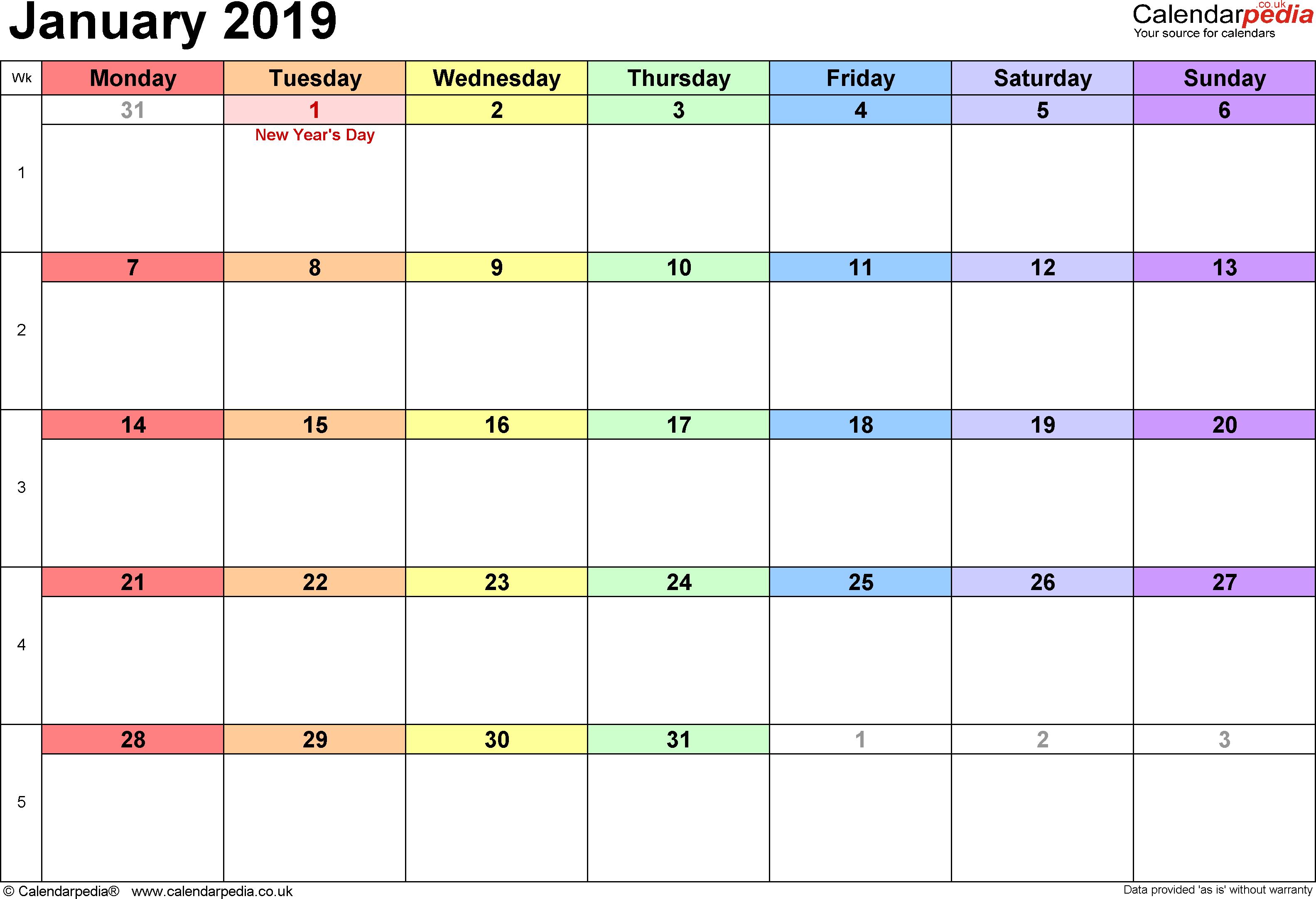 Calendar January 2019, Landscape Orientation, 1 Page, With