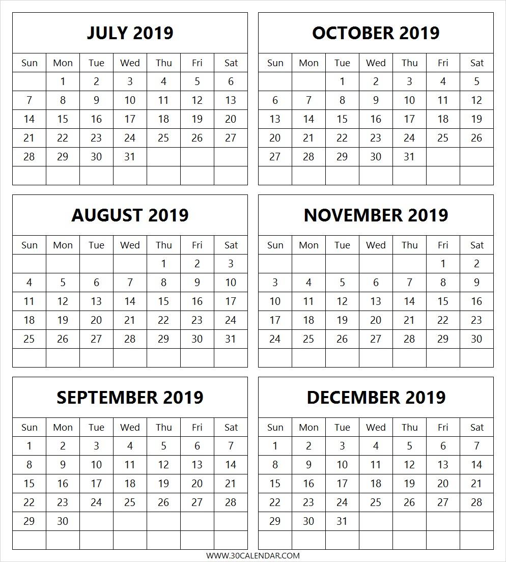 Calendar-July-2019-To-December-2019-Free - 30 Day Calendar