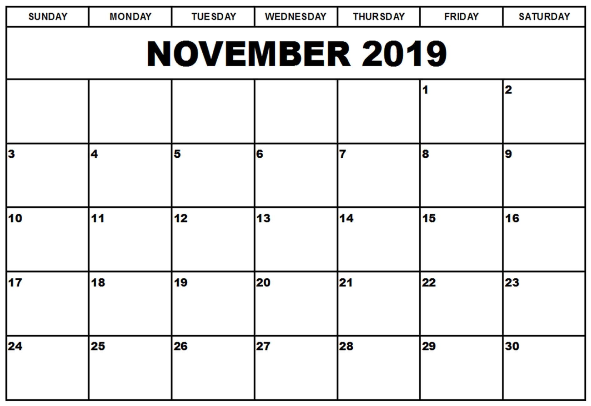 Calendar November 2019 Printable Template - 2019 Calendars