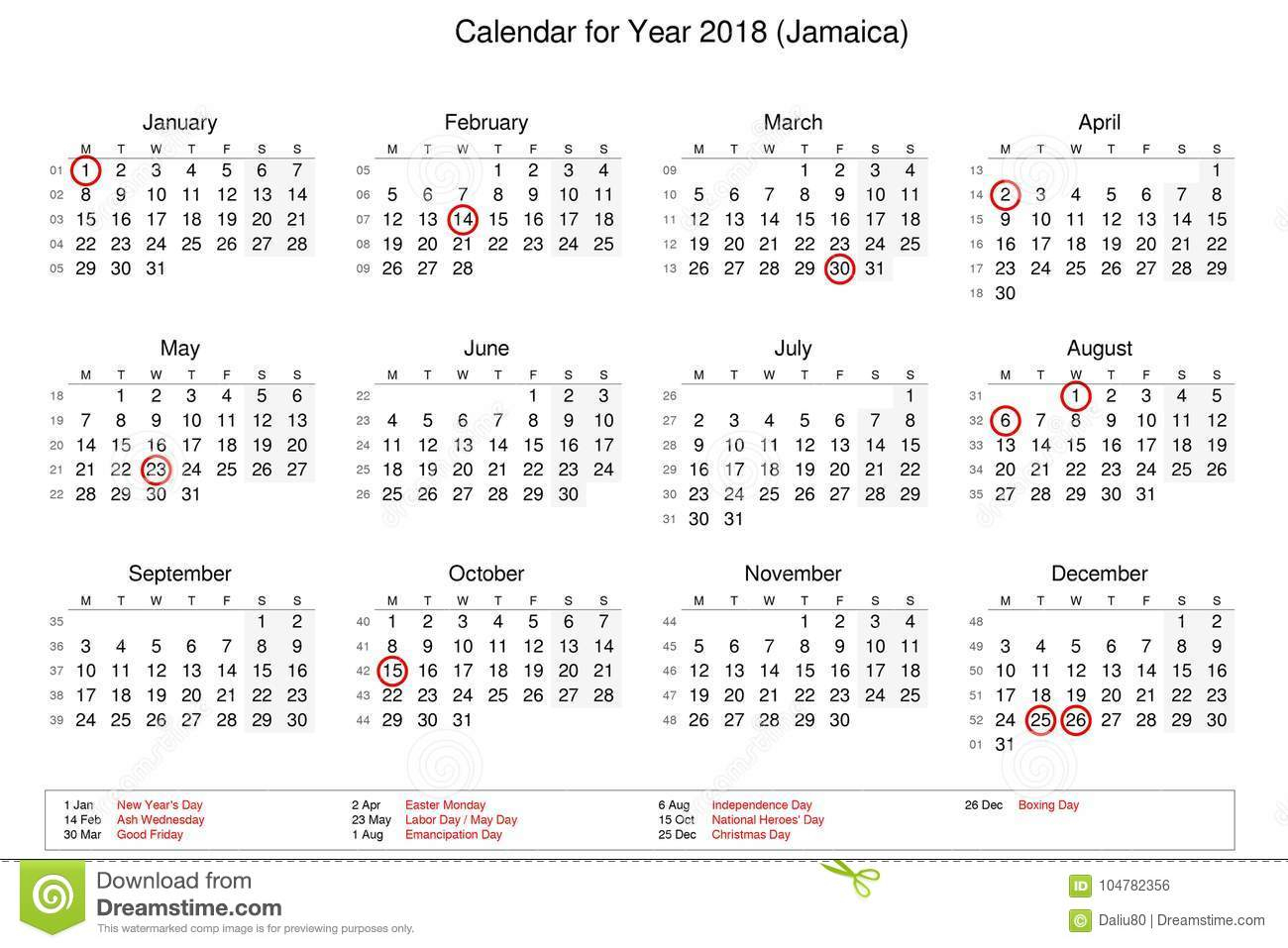 Calendar Of Year 2018 With Public Holidays And Bank Holidays