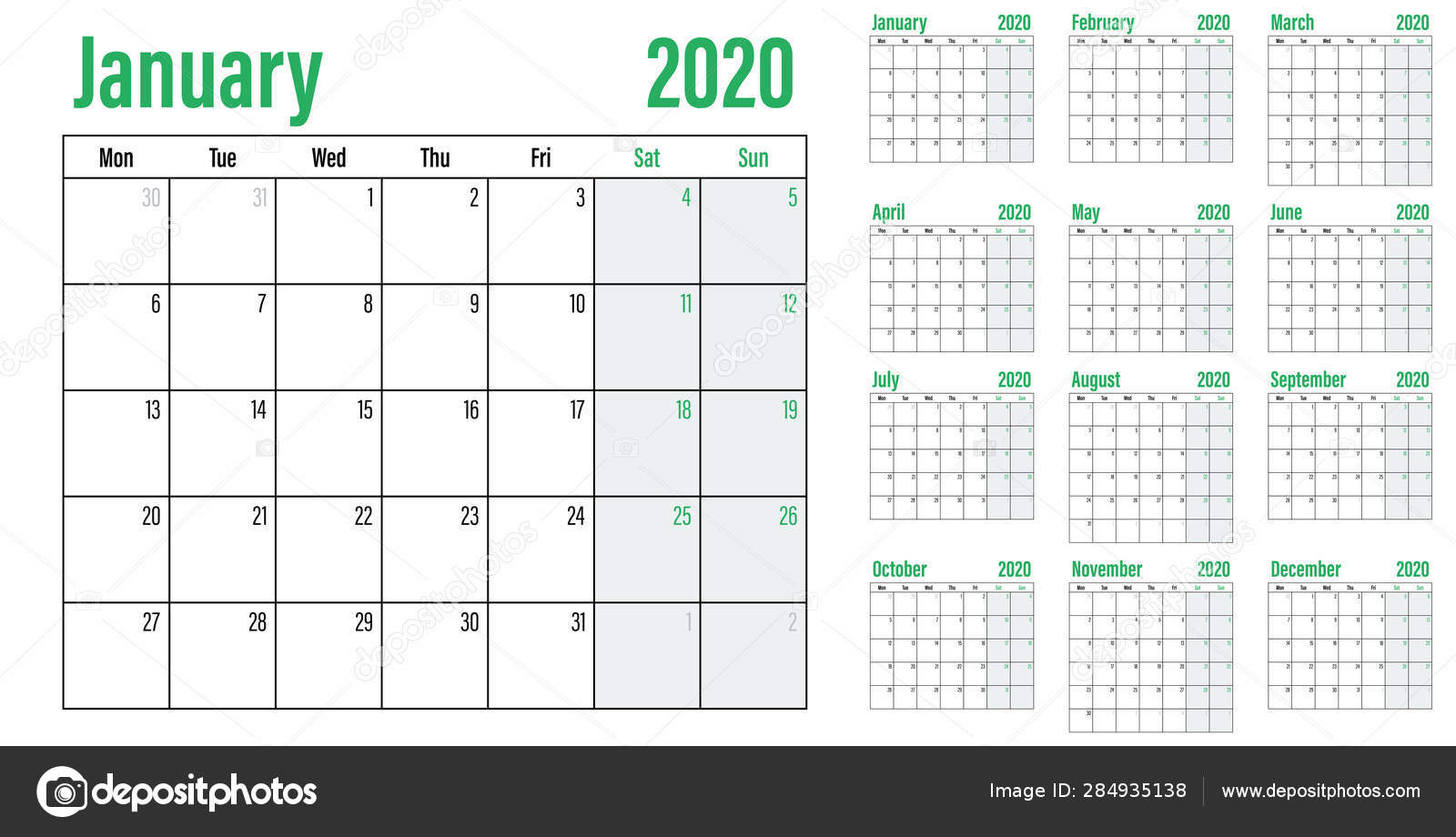 Calendar Planner 2020 Template Vector Illustration All