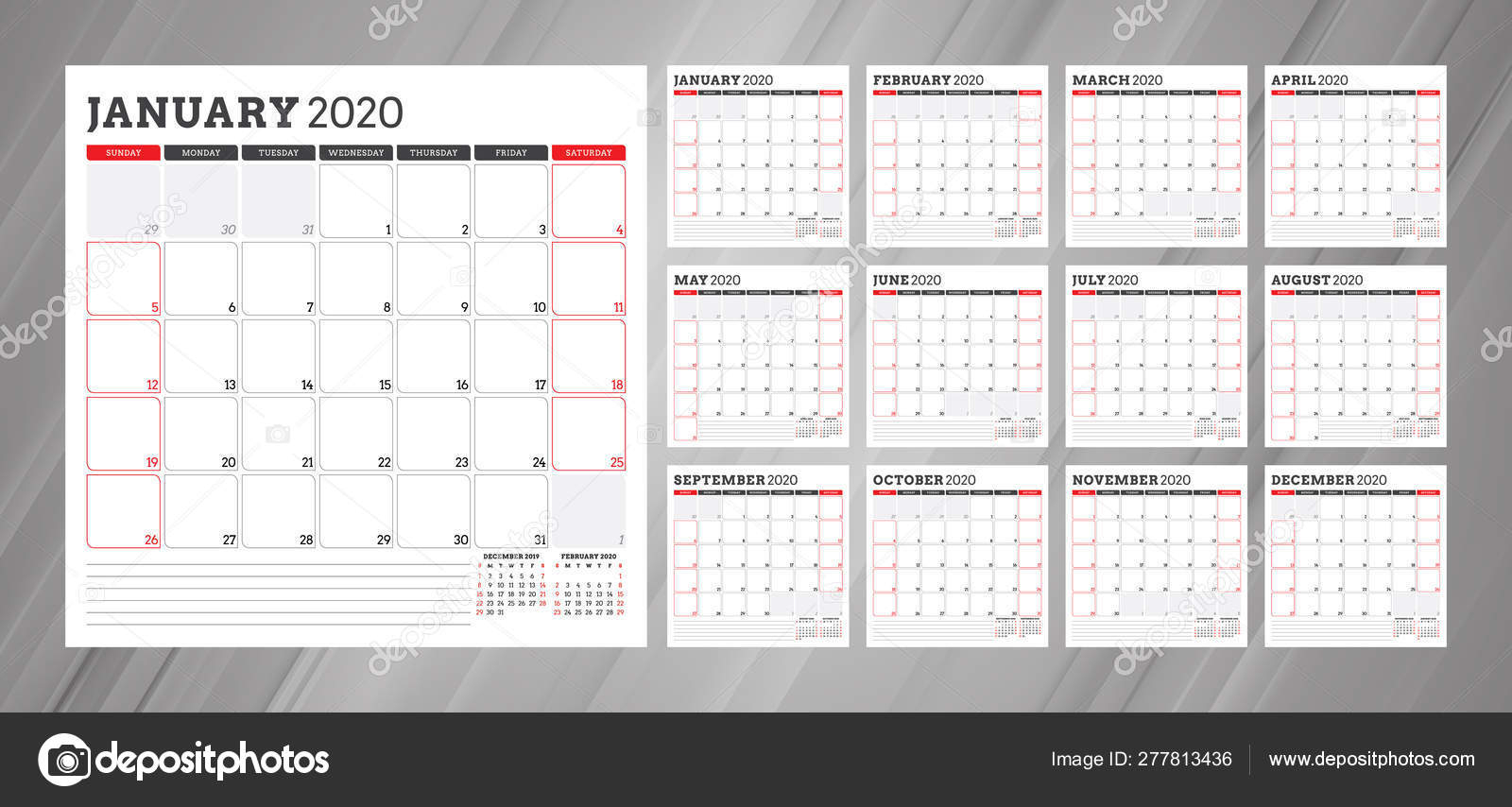 Calendar Planner For 2020 Year. Week Starts On Monday. Set