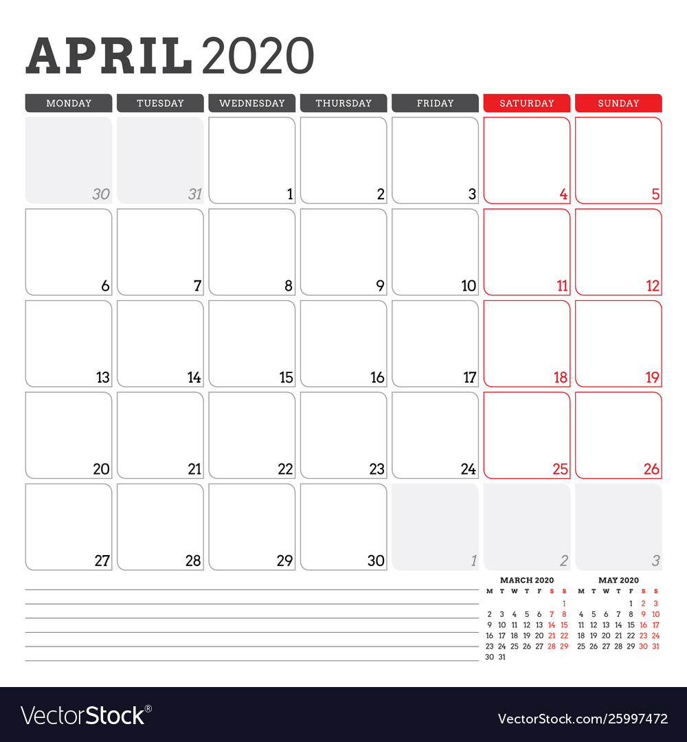 Calendar Planner For April 2020 Week Starts On