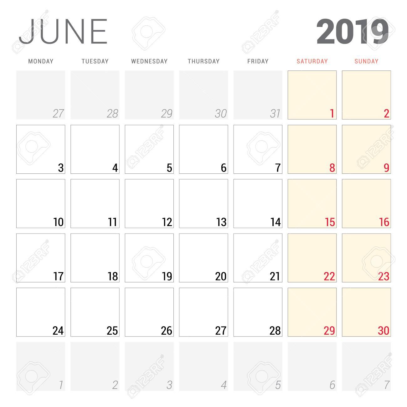 Calendar Planner For June 2019. Week Starts On Monday. Printable..