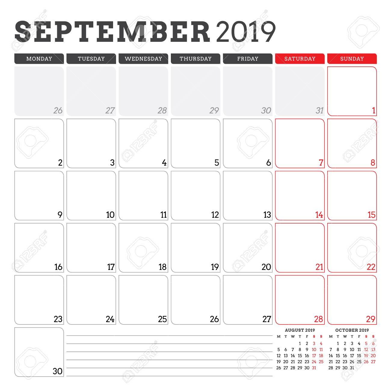 Calendar Planner For September 2019. Week Starts On Monday. Printable..